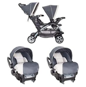 2 in 1 double stroller with bassinet